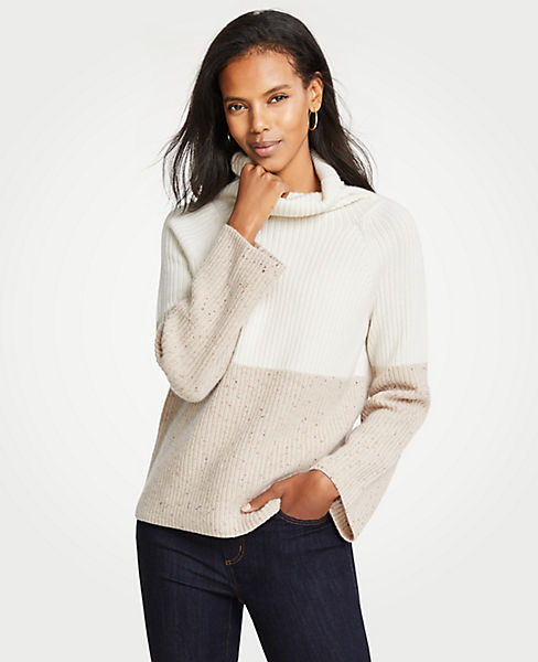 Petite Cashmere Colorblock Ribbed Turtleneck Sweater