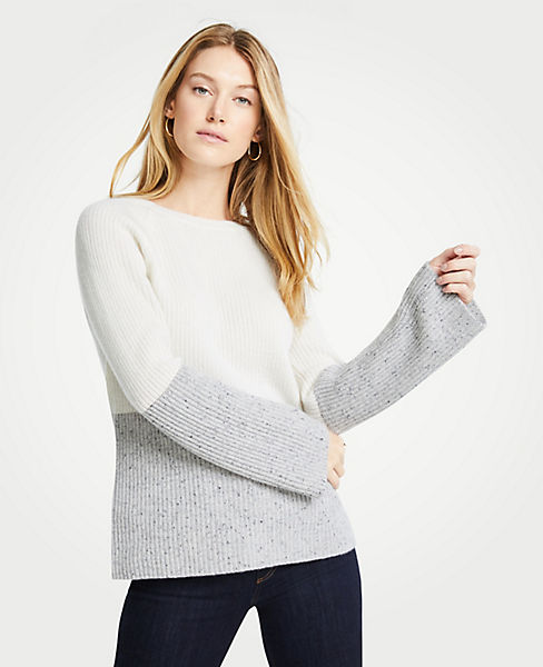 Petite Cashmere Colorblock Ribbed Crew Neck Sweater