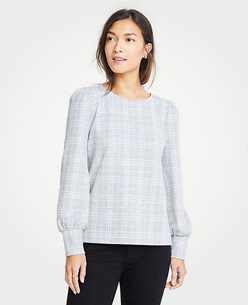 Petite Plaid Puff Sleeve Sweatshirt
