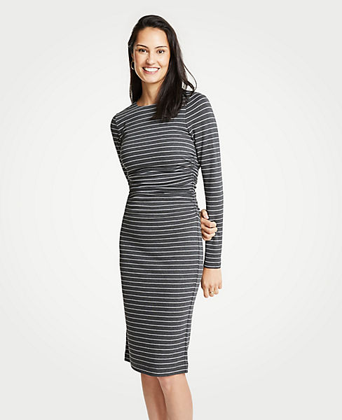 Petite Stripe Ruched Knit Sheath Dress