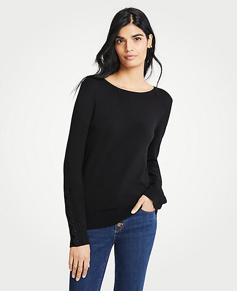 Petite Scalloped Button Cuff Sweater