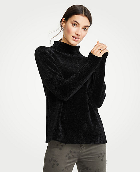 Petite Chenille Mock Neck Sweater