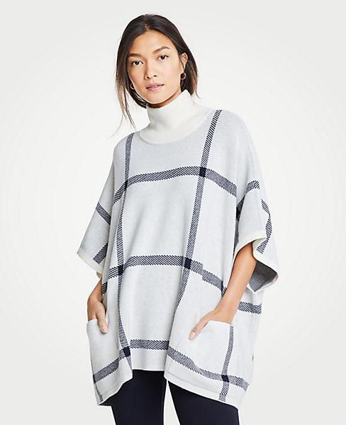 Petite Plaid Poncho Sweater