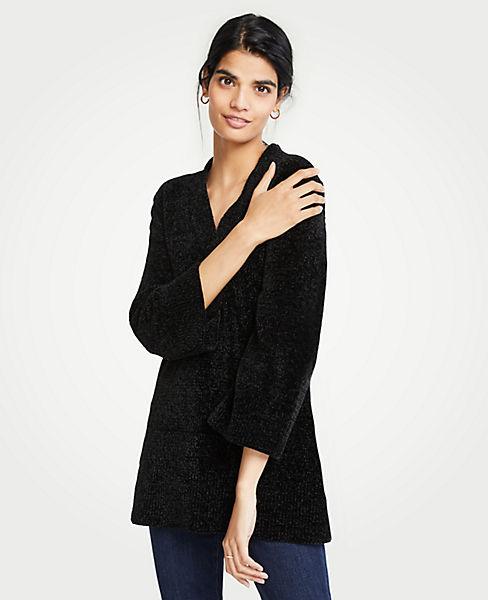 Petite Chenille V-Neck Tunic Sweater