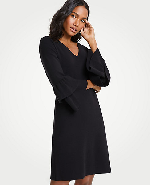 Petite Ruffle Sleeve Sweater Dress
