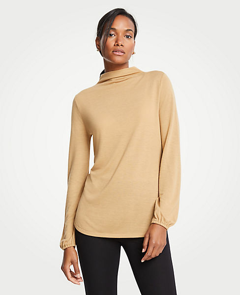 Petite Mock Neck Balloon Sleeve Knit Top