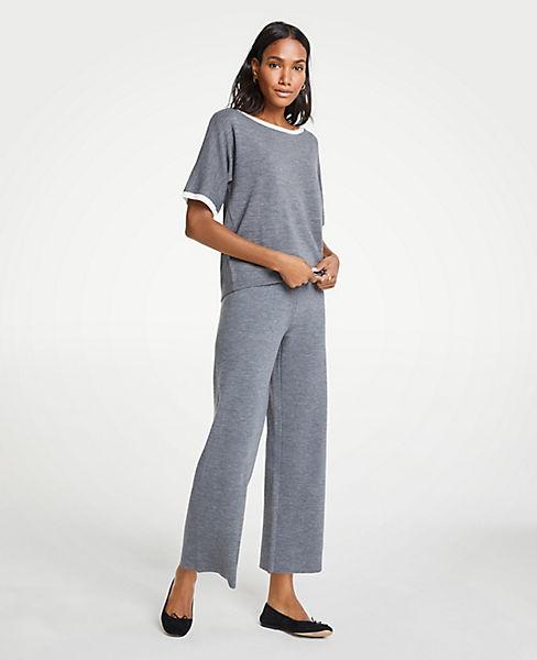 Petite Wool Knit Wide Leg Pants