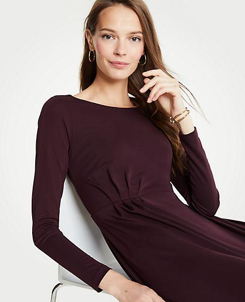 Petite Pleated Waist Flare Dress