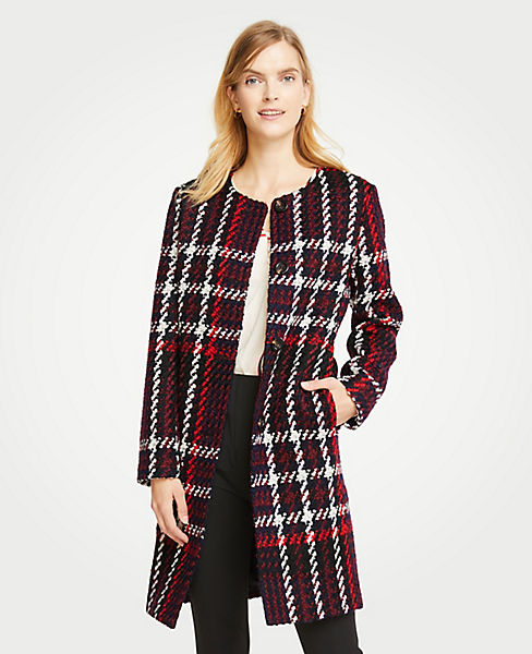 Petite Plaid Jewel Neck Coat