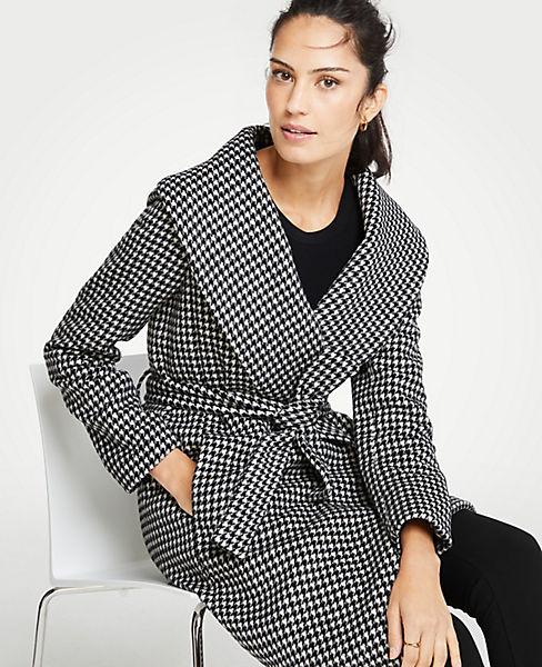 Petite Houndstooth Shawl Collar Wrap Coat