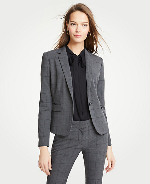 Petite Glen Plaid One Button Blazer