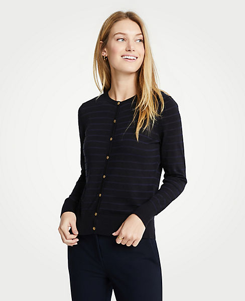 Petite Stripe Gilded Button Ann Cardigan
