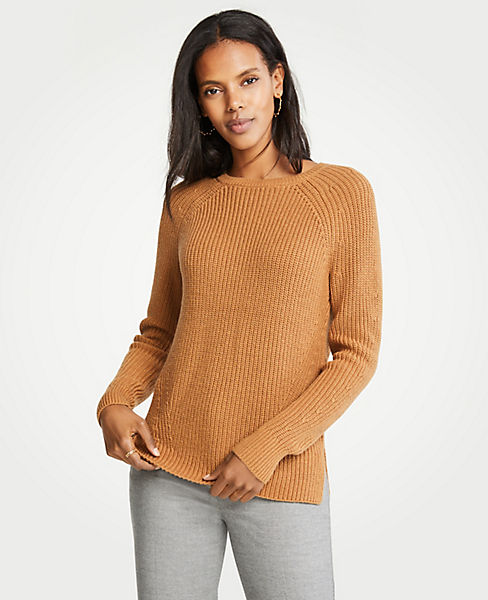 Petite Ribbed Crew Neck Sweater