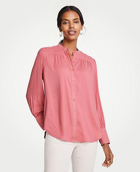 Petite Shirred Button Down Blouse