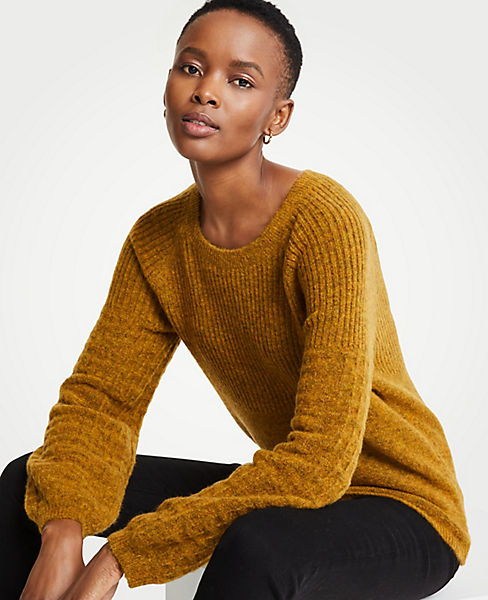 Petite Stitched Balloon Sleeve Sweater