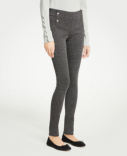 Petite Button Herringbone Leggings
