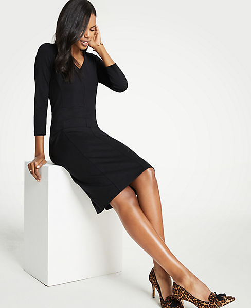 Petite Seamed V-Neck Ponte Sheath Dress