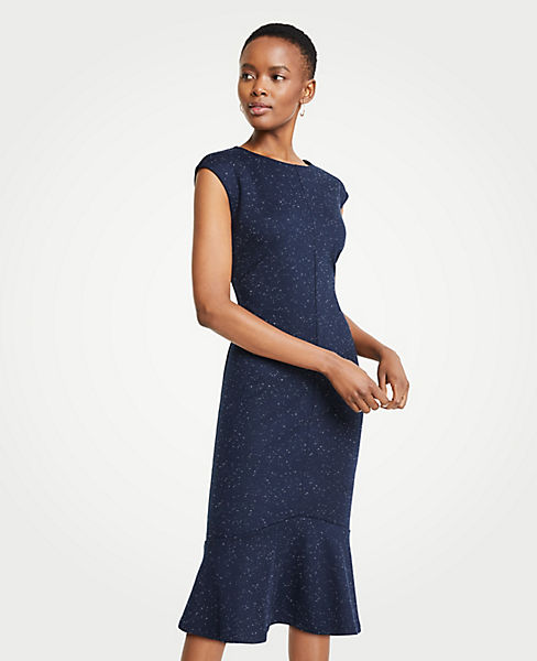 Petite Speckled Ponte Flounce Sheath Dress