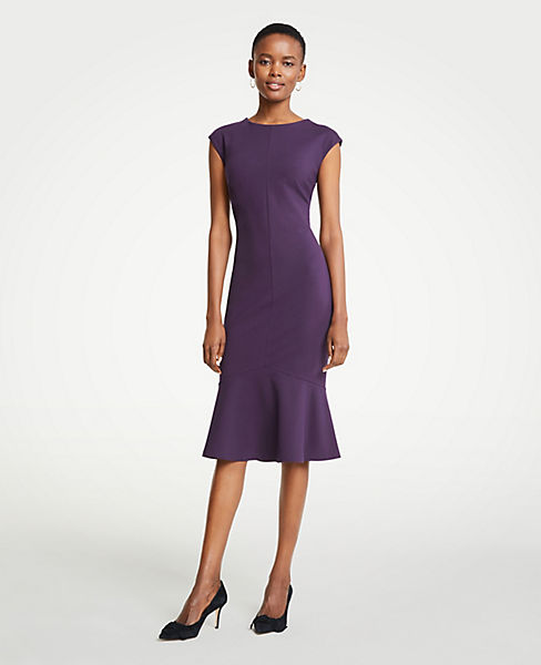Petite Ponte Flounce Sheath Dress