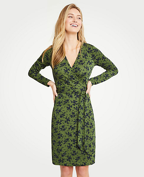 Petite Alpine Floral Matte Jersey Wrap Dress