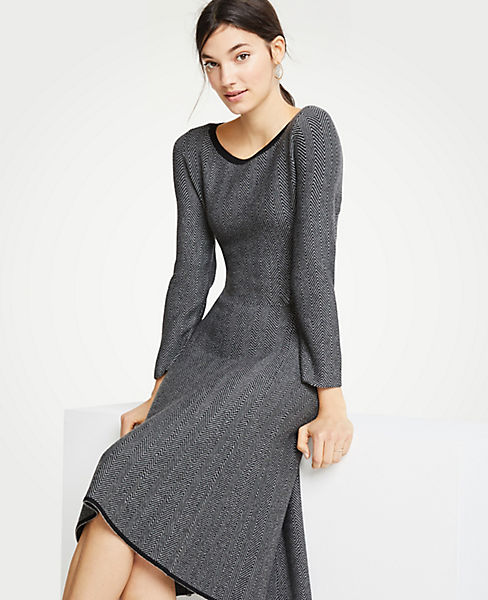 Petite Herringbone Flounce Sweater Dress