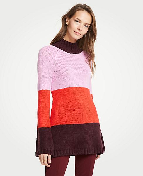 Petite Striped Mock Neck Tunic Sweater
