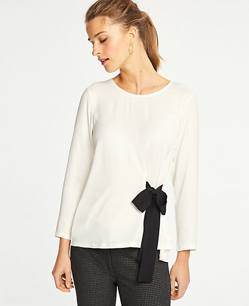 Petite Side Tie Mixed Media Top by Ann Taylor