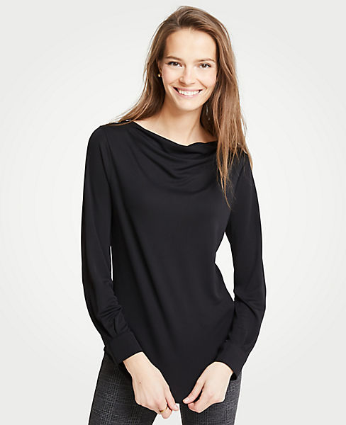 Petite Cowl Neck Long Sleeve Top