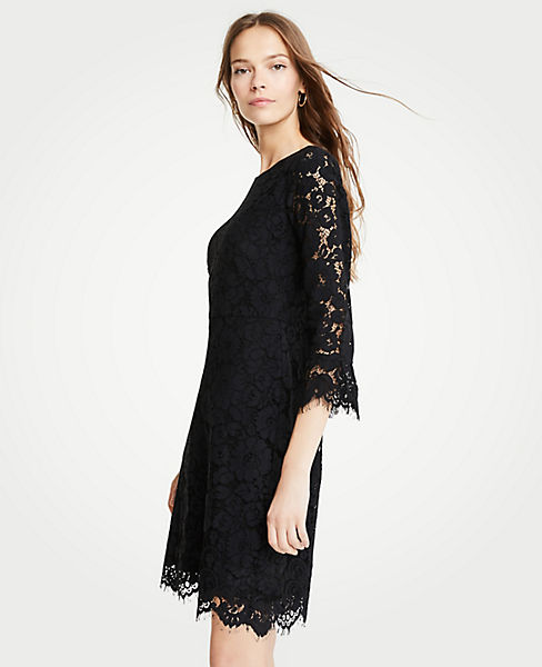 Petite Lace Fluted Sleeve Flare Dress