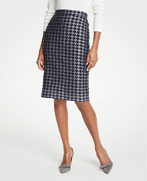 Petite Shimmer Houndstooth Pencil Skirt