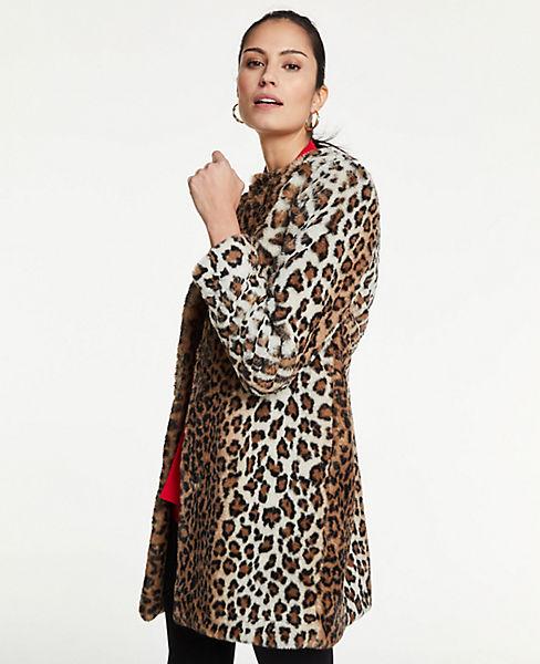 Petite Leopard Print Faux Fur Jewel Neck Coat