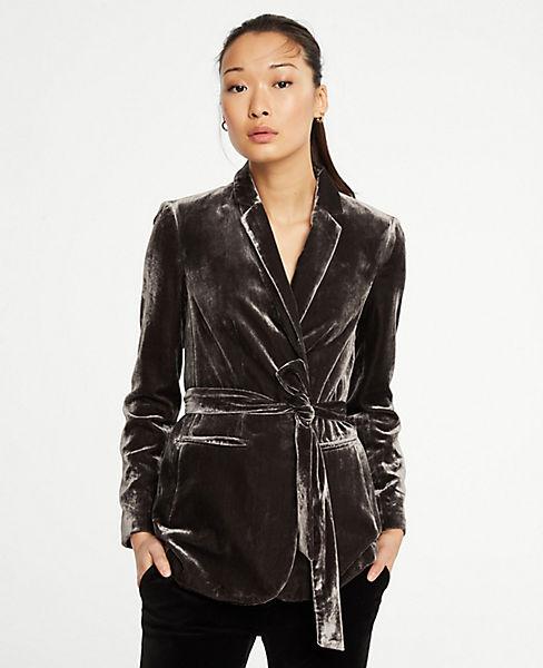 Petite Velvet Belted Blazer