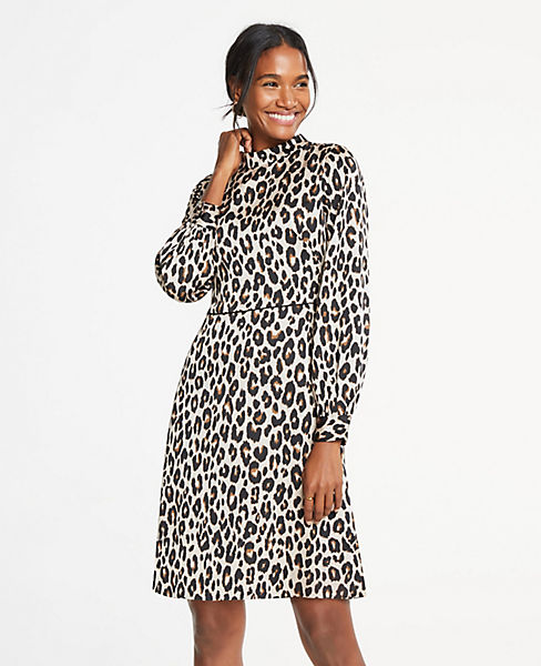 Petite Spotted Mock Neck Flare Dress