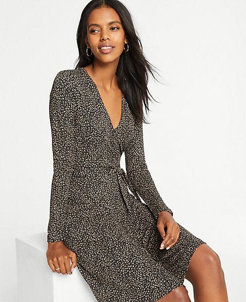 Petite Cheetah Print Wrap Dress