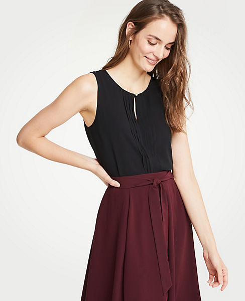 Petite Pleated Detail Shell