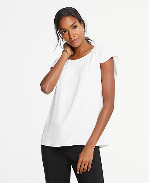 Petite Ruched Cap Sleeve Top