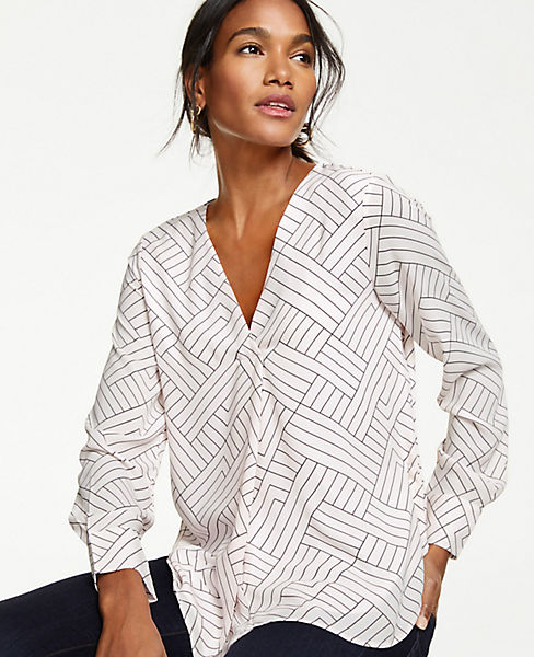Petite Geo Pleated Mixed Media Top