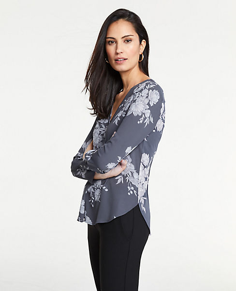 Petite Floral Pleated Mixed Media Top