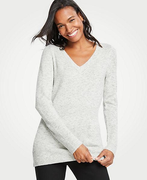 Petite Ribbed V-Neck Sweater