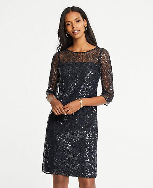 Petite Sequin Lace Shift Dress