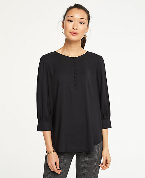 Petite Covered Button Puff Sleeve Blouse