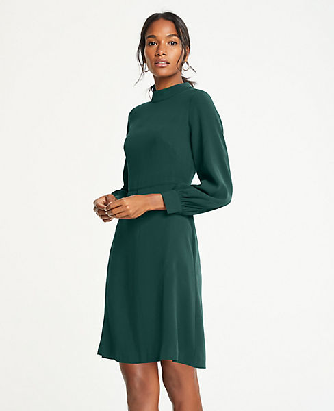 Petite Mock Neck Flare Dress