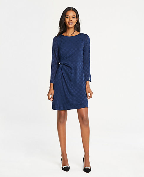 Petite Dot Jacquard Knotted Shift Dress