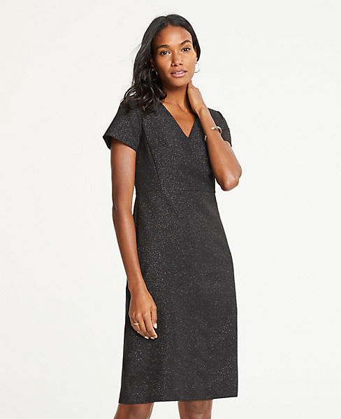 Petite Shimmer V-Neck Sheath Dress