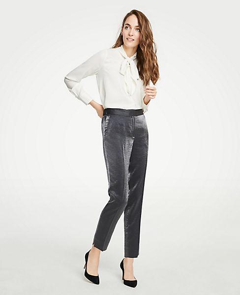 Petite Shimmer Elastic Back Ankle Pants