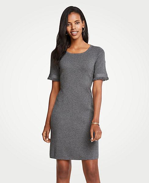 Petite Fringe Sleeve Sweater Dress