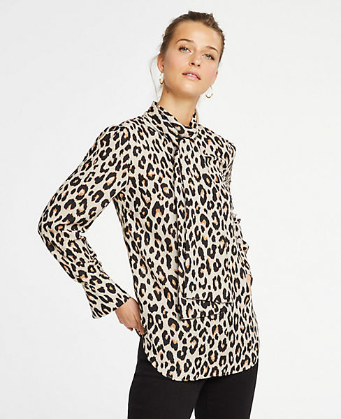 Petite Spotted Bow Blouse