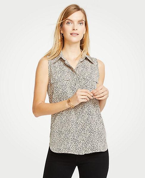 Petite Spotted Sleeveless Camp Shirt