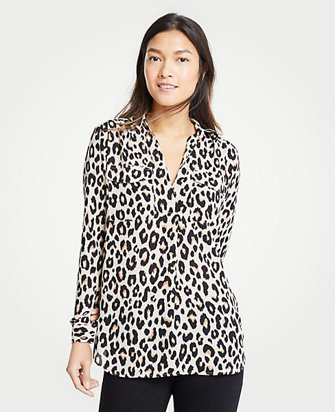 Petite Leopard Print Camp Shirt