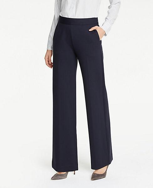 Petite Ponte Side Zip Wide Leg Pants